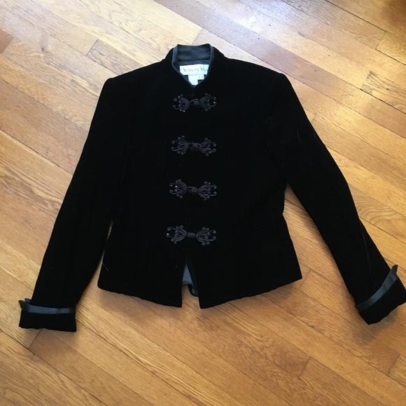 Womens vintage Black Velvet jacket Toggle Retro black  wine red Jacket Coat